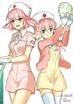 2girls audino blonde_hair blue_eyes blush chansey egg gijinka gloves hat holding jacket moemon multicolored_hair multiple_girls nurse nurse_cap open_mouth personification pink_hair pokemon pokemon_(game) pokemon_black_and_white pokemon_bw red_eyes short_hair smile tabunne thighhighs twintails uniform