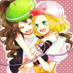 2girls aheim bad_id baseball_cap bel_(pokemon) bell_(pokemon) beret blonde_hair brown_hair female_protagonist_(pokemon_b&w) happy hat hat_switch headwear_switch hug multiple_girls pokemon pokemon_(game) pokemon_black_and_white pokemon_bw polka_dot polka_dot_background ponytail short_hair smile touko_(pokemon) white_(pokemon)