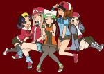 5girls alternate_costume blue_eyes blue_hair brown_eyes brown_hair genderswap gold_(pokemon) kouki_(pokemon) multiple_girls panties pantyhose pantyshot pantyshot_(sitting) paw_pose pokemon pokemon_(game) pokemon_bw pokemon_dppt pokemon_frlg pokemon_gsc pokemon_hgss pokemon_rgby pokemon_rse red_(pokemon) red_(pokemon)_(remake) sitting thighhighs touya_(pokemon) tribute underwear winter_clothes yuuki_(pokemon) yuuki_(pokemon_emerald)