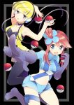 2girls arm armpits arms arms_up art babe bad_id bare_legs black_background blonde blonde_hair blue_eyes blush boots breasts cable choker cleavage collarbone cord elesa female fuuro_(pokemon) gloves gym_leader hair halter_top halterneck happy headphones highres holding holding_poke_ball hot kamitsure_(pokemon) legs looking_at_viewer midriff multiple_girls nakayama_miyuki navel neck nintendo open_clothes open_mouth open_shirt pantyhose pointing poke_ball pokemon pokemon_(anime) pokemon_(game) pokemon_black_and_white pokemon_bw ponytail red_hair redhead serious sexy shiny shiny_hair shirt short_hair short_shorts shorts side_ponytail skyla smile strapless tubetop vest wire