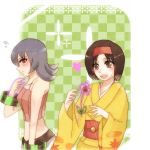 2_girls 2girls arm arms art artist_request bare_shoulders black_eyes black_hair blue_hair blush bracelet brown_eyes camisole checkered checkered_background erika erika_(pokemon) female flower gym_leader hair_between_eyes hairband happy heart japanese_clothes kimono looking_at_another love midriff multiple_girls natsume_(pokemon) neck nintendo open_mouth pokemon pokemon_(game) pokemon_hgss sabrina sabrina_(pokemon) short_hair shy smile sweatdrop tank_top v-neck wide_sleeves yukata yuri