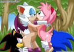 2_boys 2boys 2girls amy_rose animal_ears art ass bare_legs bat_wings bisexual breast_press breasts eye_contact foursome french_kiss gloves grass green_eyes hairband half-closed_eyes hug hugging kiss kissing leg_grab legs looking_at_another mobius_unleashed multiple_boys multiple_girls navel nipples nude open_mouth oral oral_sex outdoors palcomix rouge_the_bat sega sex shadow_the_hedgehog shiny shiny_skin sonic sonic_the_hedgehog symmetrical_docking tail tongue tongue_out torso_grab tree wings yuri