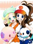 2girls baseball_cap bel_(pokemon) blonde_hair blue_eyes brown_hair green_eyes hat mariemon multiple_girls munna oshawott pokemon pokemon_(game) pokemon_bw ponytail sabakan smile tegaki touko_(pokemon)