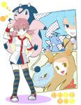 3girls akane_(pokemon) blue_eyes blue_hair bow brown_eyes brown_hair copyright_name gym_leader hirako ibuki_(pokemon) kingdra mikan_(pokemon) miltank multiple_girls pink_eyes pink_hair pokemon pokemon_(game) pokemon_gsc pokemon_heartgold_and_soulsilver pokemon_hgss steelix thighhighs title_drop twintails