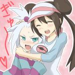 2girls ^_^ aqua_eyes black_hair blue_eyes blush breast_smother breasts brown_hair closed_eyes couple double_bun dress eyes_closed fang freckles green_eyes gym_leader hair_bobbles hair_ornament hair_ribbon heart homika_(pokemon) hue_(pokemon) hug jacket large_breasts long_hair long_sleeves lying_on_person mei_(pokemon) multiple_girls open_mouth oro_(zetsubou_girl) pokemon pokemon_(game) pokemon_bw2 profile raglan_sleeves red_eyes ribbon short_hair smile spiked_hair striped striped_dress topknot twintails visor_cap white_background white_hair yuri