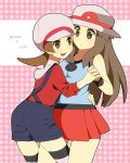 2_girls 2girls blue_(pokemon) blush brown_eyes brown_hair character_name female hand_holding hat holding_hands kotone_(pokemon) leaf_(pokemon) long_hair multiple_girls nintendo open_mouth overalls pokemon pokemon_(game) pokemon_firered_and_leafgreen pokemon_frlg pokemon_heartgold_and_soulsilver pokemon_hgss pokemon_rgby porkpie_hat pumpkinpan short_hair skirt thighhighs yuri