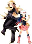 2_girls 2girls arm arms art artist_request bad_id bag bare_legs beanie big_breasts black_high_heels blonde_hair blue_eyes blue_hair boots breasts choker cleavage coat cynthia dawn female hair_ornament hair_over_one_eye hat height_difference high_heels high_res highres hikari_(pokemon) holding holding_poke_ball large_breasts leg_lift leg_up legs long_hair looking_at_viewer multiple_girls nintendo pants pink_boots poke_ball pokeball pokemon pokemon_(anime) pokemon_(game) pokemon_dppt rex_k scarf shirona_(pokemon) shoes skirt smile standing standing_on_one_leg very_long_hair white_background wristband yellow_eyes