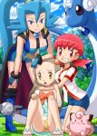 3_girls 3girls akane_(pokemon) aqua_hair arm arm_around_neck arm_grab arm_support arms bare_legs bent_over blue_eyes blush boots bracelet breasts brown_hair cape clair cleavage clefairy clenched_teeth dragonair dress fang feet female grass grin gym_leader hair_ornament hand_on_head head_grab hug hug_from_behind hugging ibuki_(pokemon) jasmine_(pokemon) kneel kneeling legs light_blue_hair long_hair looking_at_viewer low_twintails magnemite mikan_(pokemon) multiple_girls neck nintendo open_mouth panties pantyshot pantyshot_(sitting) pantyshot_sitting pink_eyes pink_hair pokemoa pokemon pokemon_(anime) pokemon_(game) pokemon_gsc pokemon_heartgold_and_soulsilver pokemon_hgss polka_dot polka_dot_panties ponytail ribbon sandals shirt short_hair short_shorts shorts shy sitting smile soara spaulders standing teeth twintails underwear very_long_hair whitney yellow_eyes yuri