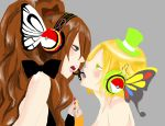 2_girls 2girls art artist_request blush character_request eye_contact female grey_background hands_together hat headphones hilda incipient_kiss looking_at_another low_res lowres multiple_girls nail_polish nintendo open_mouth parody pokemon pokemon_bw simple_background style_parody tagme vocaloid yuri