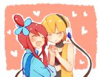 2_girls 2girls art artist_request cable elesa female fuuro_(pokemon) gym_leader heart kamitsure_(pokemon) multiple_girls nintendo pokemon pokemon_(anime) pokemon_(game) pokemon_black_and_white pokemon_bw skyla tagme yuri