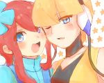 2_girls 2girls art artist_request blush cable elesa female friends fuuro_(pokemon) gym_leader kamitsure_(pokemon) looking_at_viewer multiple_girls nintendo open_mouth pokemon pokemon_(anime) pokemon_(game) pokemon_black_and_white pokemon_bw skyla tagme wince yuri