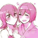 2girls art artist_request bare_shoulders blush camisole closed_eyes erika erika_(pokemon) female gym_leader hair hair_between_eyes hairband hand_holding happy heart japanese_clothes love monochrome multiple_girls natsume_(pokemon) neck nintendo open_mouth pokemon pokemon_(game) pokemon_hgss sabrina sabrina_(pokemon) short_hair shy smile sweat tank_top yuri