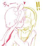 ! !! 2_girls 2girls art artist_request blush choker collarbone elesa female fuuro_(pokemon) gym_leader hand_on_another's_shoulder hand_on_shoulder heart hug hugging kamitsure_(pokemon) kiss kissing long_hair long_sleeves love low_res lowres monochrome multiple_girls nintendo pokemon pokemon_bw short_hair skyla surprised sweat yuri
