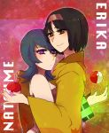 2girls arm arms art artist_request babe bare_shoulders black_hair blue_hair brown_eyes camisole character_name erika erika_(pokemon) female gym_leader hair hair_between_eyes hairband holding holding_poke_ball hug hugging japanese_clothes kimono looking_at_viewer love multiple_girls natsume_(pokemon) neck nintendo poke_ball pokemon pokemon_(game) pokemon_hgss purple_eyes sabrina sabrina_(pokemon) serious short_hair smile tank_top wide_sleeves yukata yuri