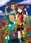 2_girls 2girls alternate_costume alternate_headwear aqua_eyes arm arms bandeau bare_shoulders bike_shorts blue_eyes brown_hair buzz carrying cloud dark_skin elite_four female flower flower_on_head fuyou_(pokemon) gloves hair_flower hair_ornament haruka_(pokemon) haruka_(pokemon_emerald) hibiscus legs long_skirt may midriff multiple_girls navel neck open_mouth phoebe pointing pokemon pokemon_(game) pokemon_rse sarong short short_hair short_twintails shorts skirt sky sleeveless sleeveless_shirt smile strapless torchic tubetop twintails wristband