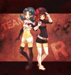 2girls blue_hair brown_hair clothes_writing colored cosplay crystal_(pokemon) great_ball hat hat_ribbon holding holding_poke_ball kotone_(pokemon) mati_(mksa) multiple_girls poke_ball pokemon pokemon_(game) pokemon_crystal pokemon_gsc pokemon_heartgold_and_soulsilver pokemon_hgss red_ribbon ribbon single_letter team_rocket team_rocket_(cosplay)