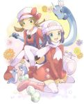 2girls alternate_costume baseball_cap beanie black_hair blue_eyes blue_hair boots brown_eyes brown_hair coat dragonair dratini egg evolution hair_ornament hairclip hat hat_ribbon hatching hikari_(pokemon) kotone_(pokemon) long_hair multiple_girls nago_celica nagocelica open_mouth overcoat pink_boots pokemon pokemon_(game) pokemon_dppt pokemon_gsc pokemon_heartgold_and_soulsilver pokemon_hgss ribbon scarf smile thighhighs twintails white_legwear white_scarf winter_clothes zettai_ryouiki