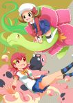 2girls akane_(pokemon) brown_eyes brown_hair cabbie_hat dissolving gym_leader hair_ornament hairclip hat kotone_(pokemon) magyo meganium miltank multiple_girls pink_hair pokemon pokemon_(game) pokemon_gsc pokemon_heartgold_and_soulsilver pokemon_hgss red_eyes ribbon skirt twintails