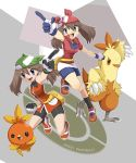 2_girls 2girls ageha alternate_costume arm armpits arms art bag bandana bandanna bare_legs bare_shoulders bike_shorts brown_hair clenched_hand combusken copyright_name dual_persona fangs female gloves happy haruka_(pokemon) haruka_(pokemon_emerald) hat highres latex legs may multiple_girls multiple_persona nintendo odamaki_sapphire open_mouth outstretched_arm pointing pokemon pokemon_(game) pokemon_rse pokemon_special shirt shorts sleeveless sleeveless_shirt smile sneakers title_drop torchic