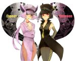2girls animal_ears artist_request black_hair breasts cleavage detached_sleeves elbow_gloves espeon gloves hat jewelry kakizato multiple_girls necklace necktie pantyhose personification pink_hair pokemon pokemon_(game) pokemon_gsc ponytail purple_eyes red_eyes umbreon