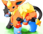 all_fours anus blue_eyes blush eeveelution erection female flareon grass looking_back luxray male nintendo open_mouth penetration penis pokemon pussy red_eyes sex smile testicles tomcat_in_sky vaginal vaginal_penetration video_games