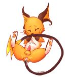 2012 after_sex anus balls biting_tail blush butt cum cum_inside cum_on_butt cum_on_penis embarrassed erection feral gaping gaping_anus gay legs_up lying male nibbling nintendo on_back pawpads penis plain_background pokemon pokã©mon precum raichu shugowah solo spreading tears video_games white_background
