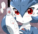 artist_request blush breasts gardevoir lactation large_breasts milking pokemon translation_request