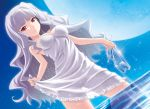 1girl breasts dress dutch_angle female full_moon hairband high_heels holding holding_shoes idolmaster long_hair masakichi_(crossroad) moon red_eyes see-through see-through_silhouette shijou_takane shoes silver_hair skirt_hold smile solo sparkle very_long_hair wading water white_dress
