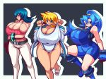 3girls alternate_costume armpits artist_request bad_id bare_shoulders belt black_hair black_panties blue_eyes blue_hair blush boots bracelet breasts camisole cape casual choker cleavage coat crossed_arms dengeki!_pikachu earrings erect_nipples feet flats footwear foreshortening gigantic_breasts gloves green_eyes gym_leader hands happy highres hips huge_breasts ibuki_(pokemon) jacket jewelry kasumi_(pokemon) kneehighs kneeling large_breasts legs leotard lion's long_hair midriff multiple_girls natsume_(pokemon) navel nintendo nipples no_bra one-piece_swimsuit open_clothes open_coat open_jacket orange_hair panties pants pantyhose pokemon pokemon_(game) pokemon_heartgold_and_soulsilver pokemon_hgss ponytail purple_eyes purple_hair purple_legwear raion-san red_eyes sandals shirt shoes short_hair simple_background skin_tight sleeveless smile socks solo spandex sweat sweatdrop swimsuit tank_top taut_clothes taut_shirt thick_thighs thigh_boots thighhighs thighs tongue underwear wide_hips