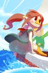 1boy 1girl ass avian bangs bird blonde_hair blush blush_stickers boat bottomless brown_hair butt duo female huge_ass human link male mammal medli no_panties noill pointy_ears ponytail red_eyes rito sea seated smile the_legend_of_zelda the_legend_of_zelda:_the_wind_waker upskirt video_games water