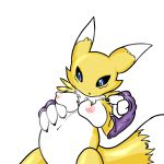 1_anthro 1_female 1_girl 3_fingers anthro anthro_canine anthro_fox big_belly blue_eyes breasts canine detached_sleeves digimon female female_anthro female_anthro_fox female_only female_renamon fox fur furry looking_down mostly_nude nipples pregnant renamon solo spread_legs standing tail toei_animation vixen white_fur yellow_fur