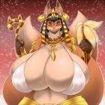 1girl 1girl abstract_background anthro big_breasts black_hair breasts canine clothed clothing concon-collector egyptian_clothing fox furry hair huge_breasts mammal multi_tail no3512 skimpy voluptuous wide_hips