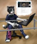 anthro canine chelsea_chamberlain clitoris collar computer conference cub cute dog eyewear female fingering furry fuzzywuff glass glass_table glasses hot john karelian_bear laptop male mammal pussy schoolgirl sexy simple_background skirt skype table teasing tongue uniform usb usb_necklace video_chat webcam wet wolf young