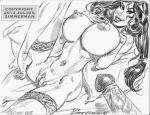 2014 aladdin_(series) big_breasts breasts disney julius_zimmerman_(artist) monochrome nude penis pillow princess_jasmine pussy stockings