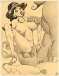 2003 aladdin_(series) disney genie genie_(aladdin) julius_zimmerman_(artist) magic_lamp monochrome princess_jasmine tagme