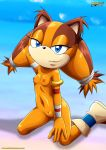 1girl arm_behind_head blue_eyes boots breasts female horny looking_at_viewer mobius_unleashed nipples nude orange_skin pin_up pussy sega small_breasts smile smiling solo sonic_(series) sonic_boom sticks_the_jungle_badger