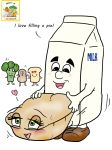 4chan blush broccoli food food_groupie from_behind fucked_silly happy happy_sex hetero mascot melvin_milk milk milk_carton no_humans peanut personification pie sandwich sex vegetable