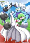 anthro arms_tied ass breasts day gardevoir leg_grab nintendo nipples nude open_mouth outside park penetration pokemon pokephilia pokepornlive pussy thundurus vagina