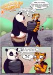 comic english_text full_body furry kung_fu_panda master_tigress open_mouth po pose shorts speech_bubble standing sucking tail text white_fur