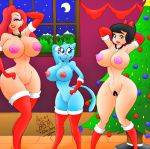 2013 betty_rubble big_breasts breasts cat christmas crossover disney jessica_rabbit lipstick moon nicole_watterson night nipples nude pussy smile tail the_flintstones who_framed_roger_rabbit