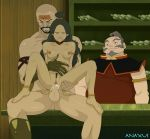 1_girl 1girl 2_boys 2boys age_difference anal anaxus avatar:_the_last_airbender clenched_teeth combustion_man crying cum_inside dark_skin feet interracial katara moaning pubic_hair reverse_cowgirl sex tears teeth
