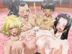 4girls blush boa_hancock breast_grab breasts censored cigarette cum cum_explosion dark_skin grabbing happy_sex harem huge_breasts kikyou_(one_piece) margaret marguerite mikanberry multiple_girls multiple_paizuri nipples nude one_piece overflow paizuri penis quad_paizuri rindou_(one_piece) sex teamwork