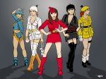 5girls angry_birds belt blonde_hair boots breasts brown_eyes brown_hair clevage green_eyes grey_background grin hands_on_hips hat helmet looking_at_viewer