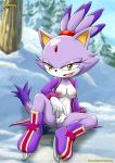 bbmbbf blaze_the_cat breasts female looking_at_viewer mobius_unleashed nipples outside sitting snow solo sonic_(series) spreading spreading_legs tree