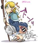 1girl ambiguous_fluids anal anal_insertion blonde_hair blush braid censored creature_inside dungeon_meshi elf green_eyes marushiru object_insertion parasite peeing pointy_ears spitting squatting staff tonda twin_braids worm x-ray