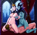 1girl 2014 bloodfart breast_grab breasts crossover crown disney female leg_grab legs licking lipstick male maleficent man nude on_top penis pussy queen_grimhilde sleeping_beauty smile snow_white_and_the_seven_dwarfs window witch woman