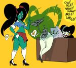 ass black_hair crossover danny_phantom desiree disney funny ghost green_skin justindurden kim_possible long_hair paddle school_girl sexy shego teacher