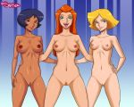 alex black_hair blonde_hair blue_eyes breasts brown_eyes clover green_eyes long_hair mrsamson00_(artist) naked nipples orange_hair pubic_hair pussy sam sexy shiny shiny_skin short_hair smile totally_spies