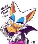 1girl bra breast_hold breasts cleavage erect_nipples female large_breasts rouge_the_bat solo sonic_(series) tagme