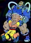 2boys apocalypse ass bara bottomless bruno_(artist) cum gay human male male_only multiple_boys muscle partially_clothed penis source_request torn_clothing wolverine x-men yaoi